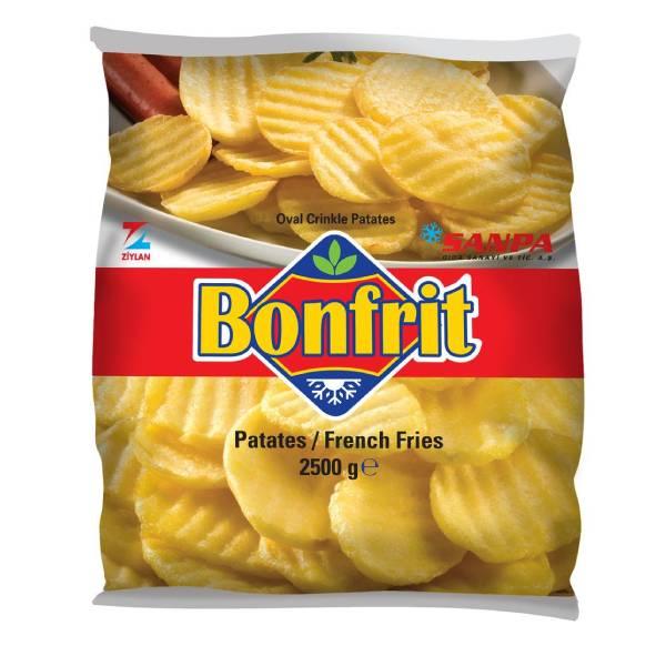 Sanpa Bonfrit Oval Crincle Tırtıklı Patates 2500 Gr